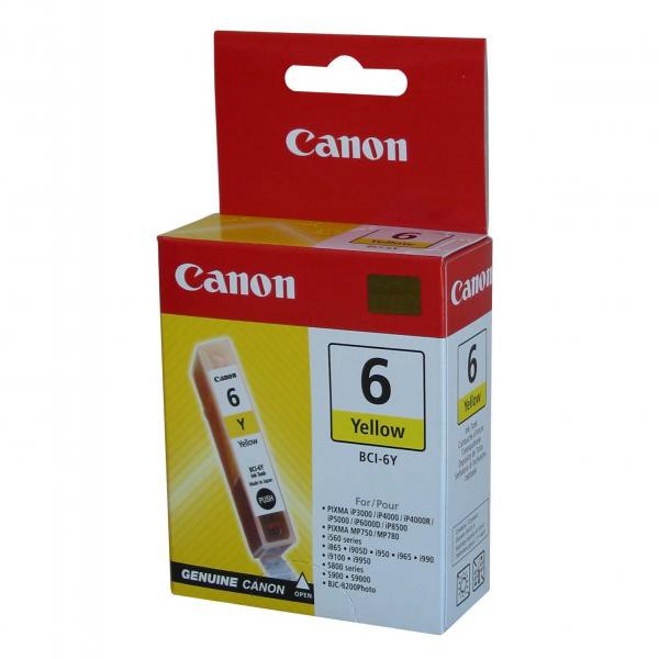 Canon originál ink BCI6Y, yellow, 280str., 13 4708A002, Canon S800, 820, 820D, 830D, 900, 9000, i950