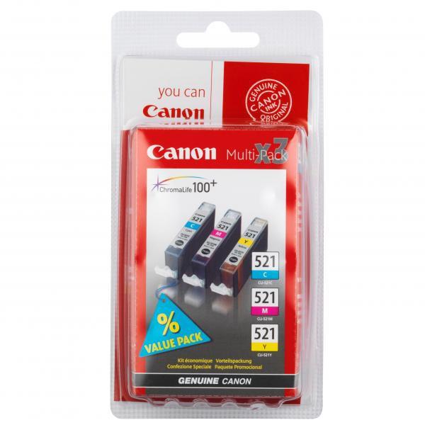 Canon originál ink CLI521, cyan/magenta/yellow, blister, 3x9ml, 2934B010, 2934B007, Canon iP3600, iP4600, MP620, MP630, MP980
