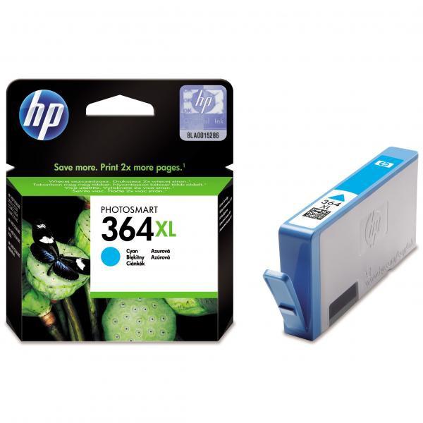 HP originál ink CB323EE, HP 364XL, cyan, blister, 750str., HP Photosmart B8550, C5380, D5460