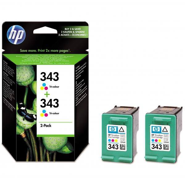 HP originál ink CB332EE, HP 343, color, 520 (2x260)str., 2x7ml, HP 2-Pack, C8766EE, PSC-1610, OJ-6210, DeskJet 6840