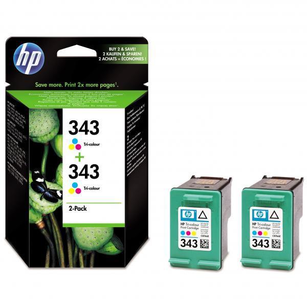 HP originál ink CB332EE, HP 343, color, blister, 520 (2x260)str., 2x7ml, HP 2-Pack, C8766EE, PSC-1610, OJ-6210, DeskJet 6840