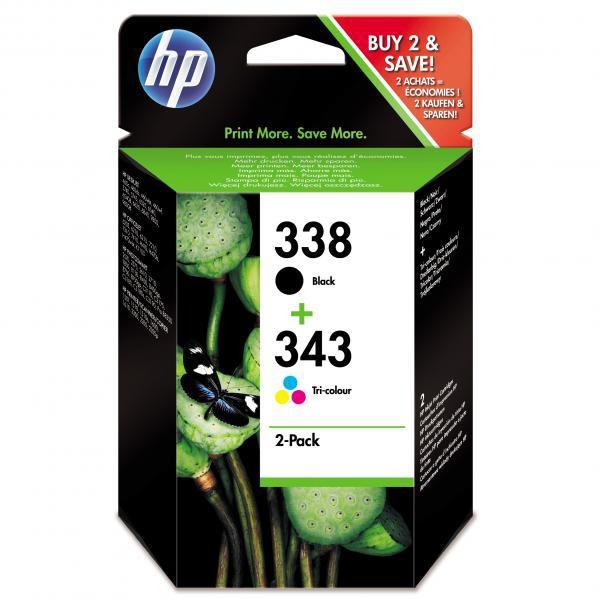 HP originál ink SD449EE, HP 338 + HP 343, black/color, 480/330str., 2ks, HP 2-Pack, C8765EE + C8766EE