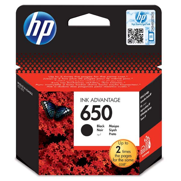 HP CZ101AE - originálna cartridge HP 650, čierna, 6,5ml