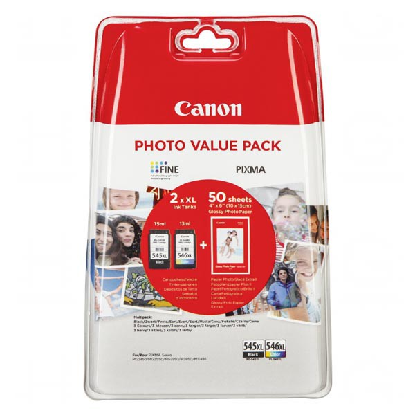 Canon originál ink PG-545 XL/CL-546 XL + 50x GP-501, black/color, 8286B006, Canon Pixma MG2450, 2555, MX495, Promo pack