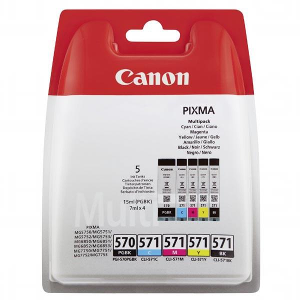 Canon originál ink PGI-570/CLI-571 GBK/BK/C/M/Y Multi Pack, black/color, 0372C004, Canon Pixma MG575x, MG685x, MG775x