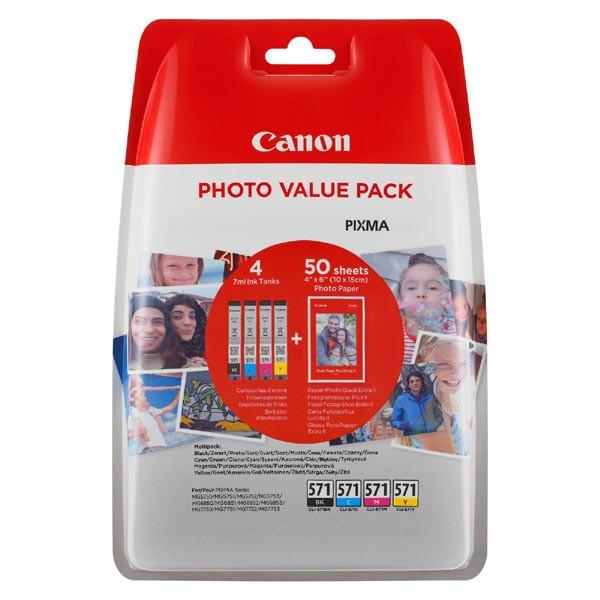 Canon originál ink 0332C005, cmyk, CLI-571XL C/M/Y/BK + 50x PP-201, Canon Pixma MG6850,MG6851,MG6852,MG6853,MG7750, MG5750