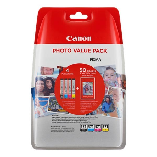 Canon originál ink 0386C006, cmyk, Canon CLI-571 C/M/Y/BK + 50x PP-201, Canon PIXMA TS5051,53,55, TS6050,51,52, TS8051,52,TS9050