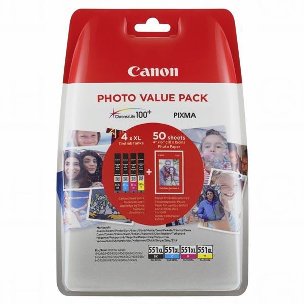 Canon originál ink CLI-551XL C/M/Y/BK Photo Paper Value Pack, CMYK, blister, 6443B006, Canon Pixma iP7250,iP8750,iX6850,MG5450,MG5