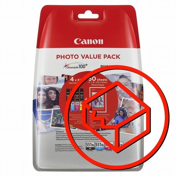 Canon originál ink 6443B006, CLI-551XL C/M/Y/BK Photo Value Pack, CMYK, blister, Canon Pixma iP7250,iP8750,iX6850,MG5450,MG5550,MG