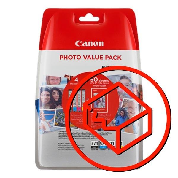 Canon originál ink 0386C006, cmyk, Canon CLI-571 C/M/Y/BK + 50x PP-201, Canon PIXMA TS5051,53,55, TS6050,51,52, TS8051,52,TS9050,