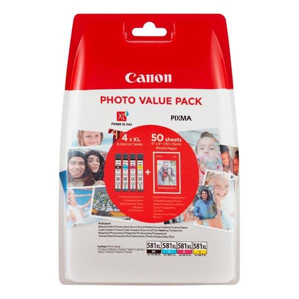 Canon originál ink CLI-581 XL CMYK Multi Pack, CMYK, blister, 4*8,3ml, 2052C004, very high capacity, Canon PIXMA TS6150,TS6151,TS8