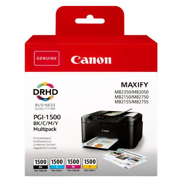 Canon originál ink PGI-1500 BK/C/M/Y Multipack, CMYK, 400/3*300str., 9218B005, Canon MAXIFY MB2050,MB2150,MB2155,MB2350,MB2750,MB2